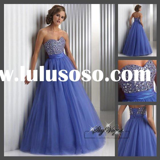 New Style Strapless Beading Prom Evening Dress