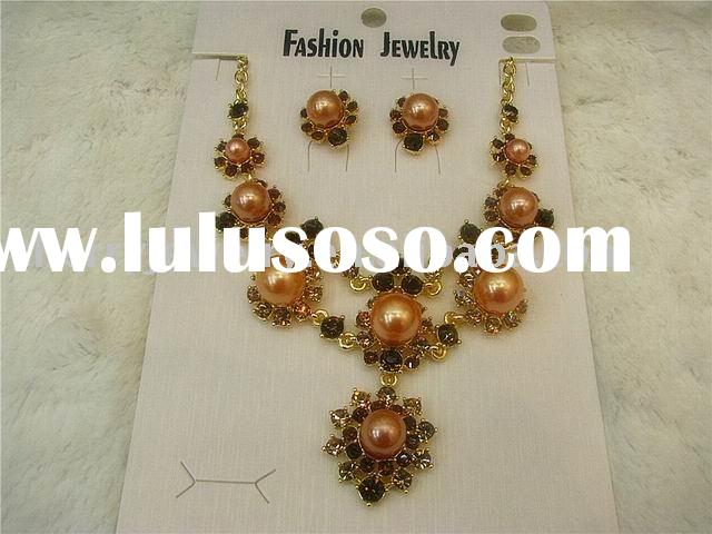 New arrived Fashion design pearl India alloy jewelry necklace earrings set