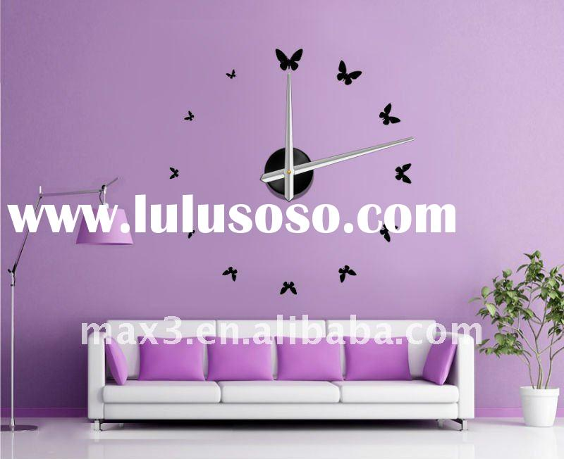 New fashion black buterfly home decoration wall sticker Clock