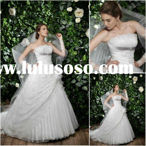 New model 2011 fall ball gown wedding dresses with train