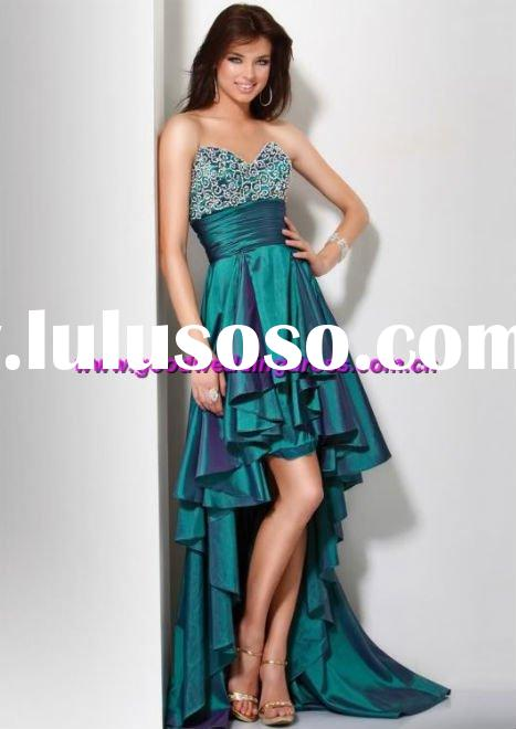 New style taffeta appliqued strapless front short long back evening dresses