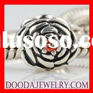Newest Sterling Silver Beads Blooming Rose Charms