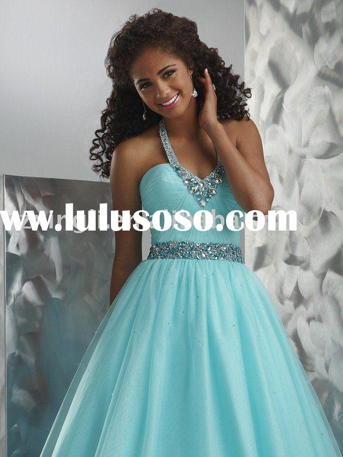 Newest Style A-Line Floor Length Halter Straps with Ruche and Beading Lace Up Back Prom Dress