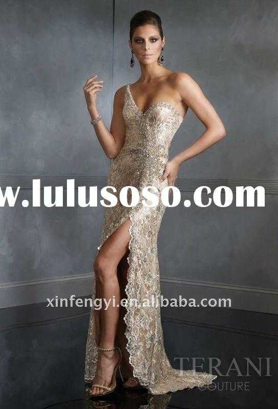 Noble rhinestones along one shoulder beaded long lace evening gown 2011 latest designs