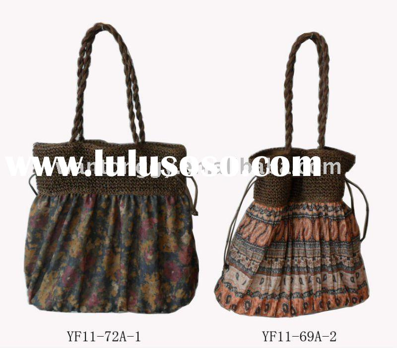 PRINTED COTTON FABRIC FASHION HAND BAG