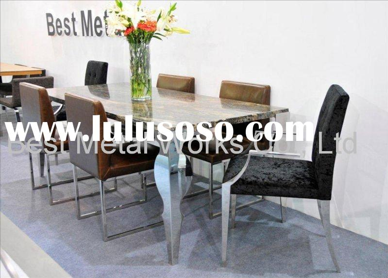 Polished Stainless Steel Dining Table with Marble Top from Shanghai Manufacturer