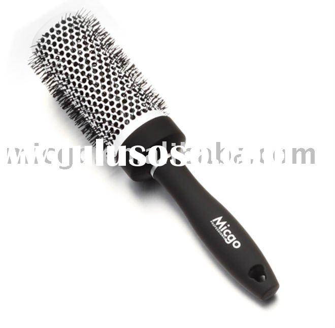Professional Ceramic Aluminum Black Rubber-Coating Round Hair Brush