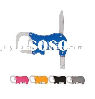 Promotional Bottle Opener Carabineer With Flashlight And Knife
