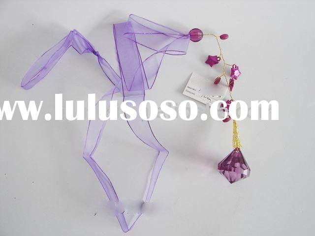 Purple string decoration with acrylic beads