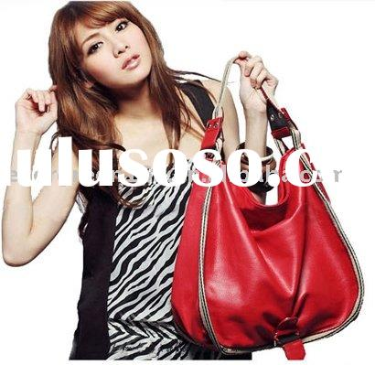 RED leather handbag,hotsale leather designs ,made of genuine leather (EMG23)