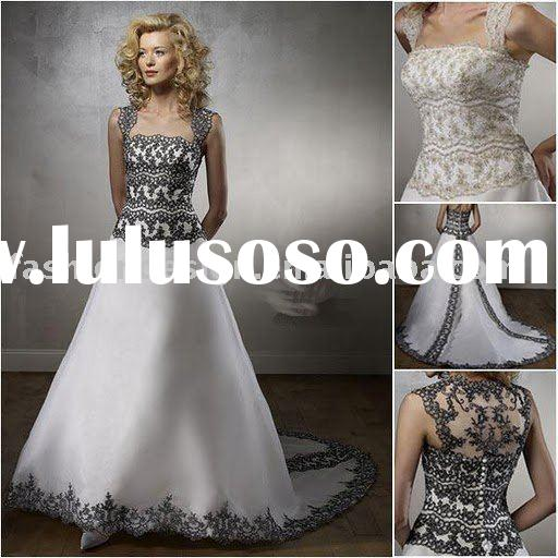 RH215 Stylish fashion black lace designer bridal gowns wedding dress