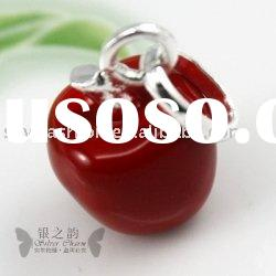 Red Apple Pendants,925 Sterling Silver Charms LC090