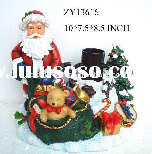 resin craft and cast iron christmas tree stand santa claus decoration