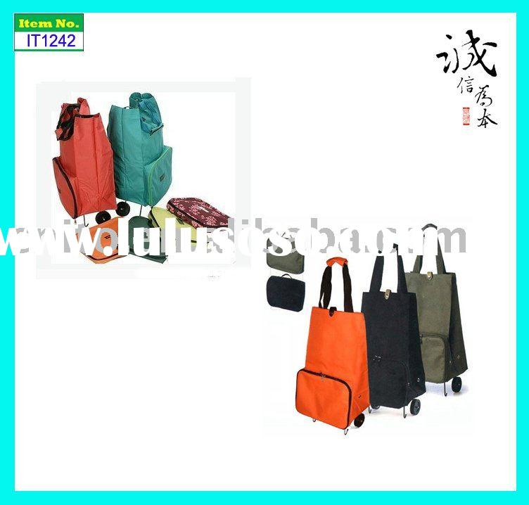 Reusable Collapsible Folding Rolling Luggage Portable Tote Shopping Bag with Wheels