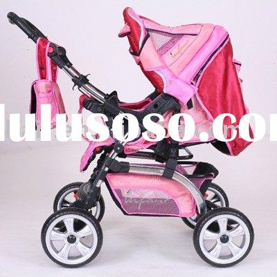 Reversible Handle Pink Baby Stroller With Mama Bag