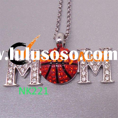 Rhinestone Basketball Necklace and Earring Set