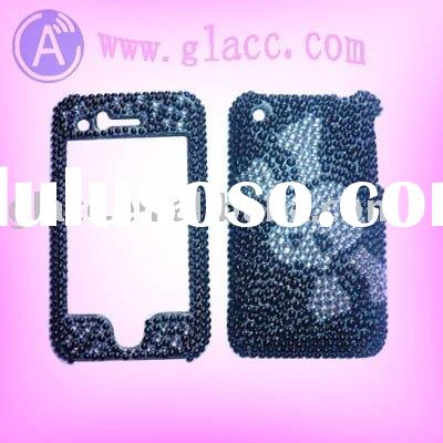 Rhinestone crystal Bling hard skin Case For Apple Iphone 3G in Skull