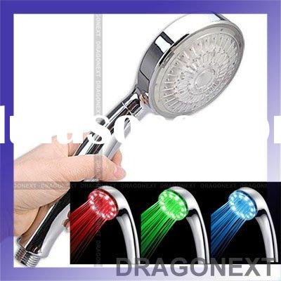 Romantic 3 LED RGB Color Light Therapy Water Temperature Detectable Top Shower Head