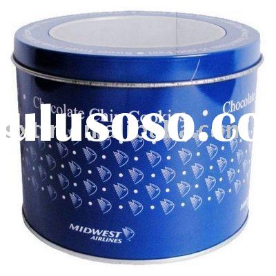 Round Tin Can With Clear PVC Window on Top