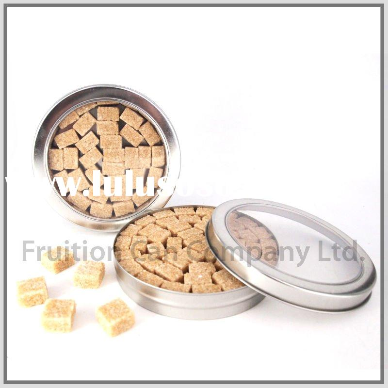 Round Tin Container with Clear APET Window