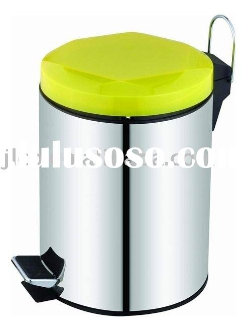 Round stainless steel step-open bin