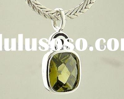 S925 Sterling Silver Pendant With 1pcs Olive Stone Pendant