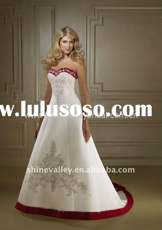 SH812 Brand New Strapless Sweetheart White and Red Embroidery Satin Wedding Dress