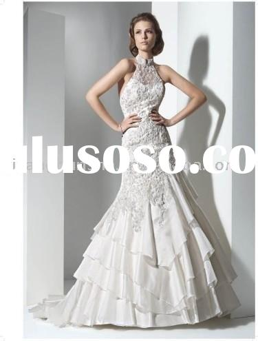 SZW1022 European style lace high-neck long train mermaid low back sheath Wedding Dresses