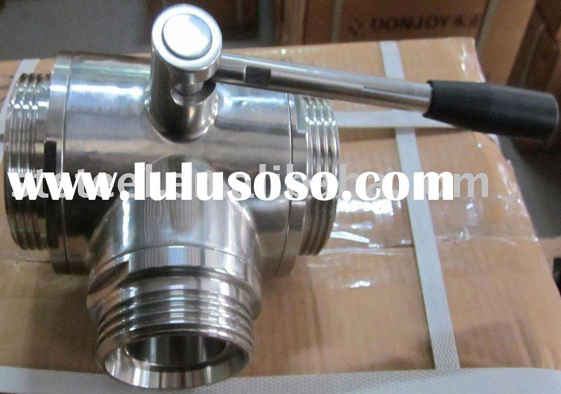 Sanitary Stainless Steel Three-Way With Outside Threaded Ball Valve