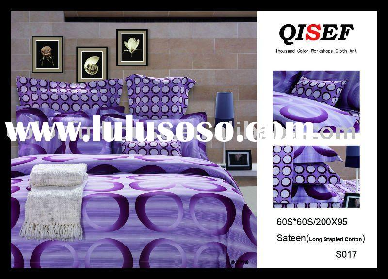 Sateen printed bedding set/bed sheet/quilt cover