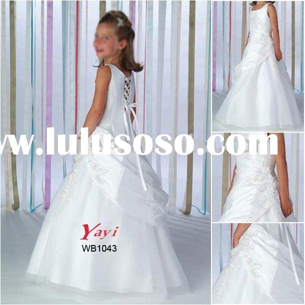 Satin organza halter round neckline sleeveless embroidery ivory flower girl's dress WB1043