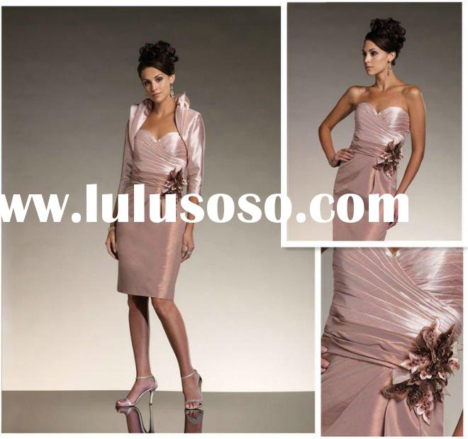 Shealth Strapless Taffeta Knee-length Mother of the Bride Dresses Short