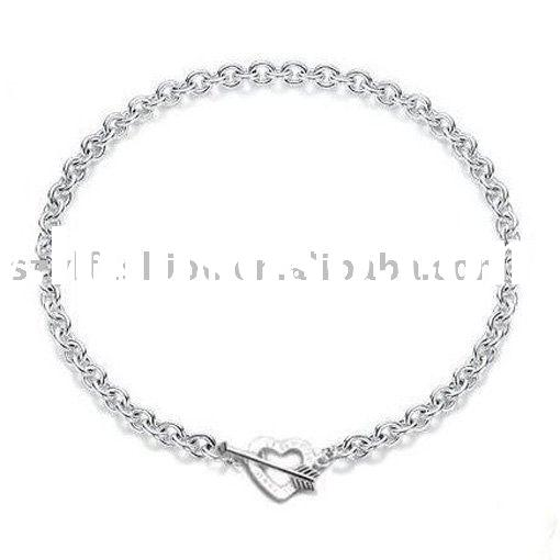 Silver Love Heart Pendant Necklace Jewelry NA020