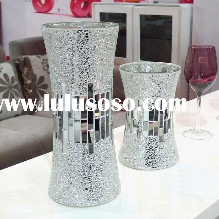 Silvery Mirror Mosaic Glass Flower Vase For Home Decoration
