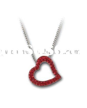 Simple heart shaped necklace pendant,silver plated alloy necklace with red crystal/diamond setting