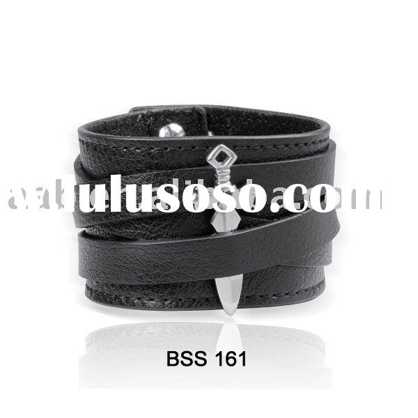 Stainless Steel Jewelry - Fashion Leather Bracelet BSS 161