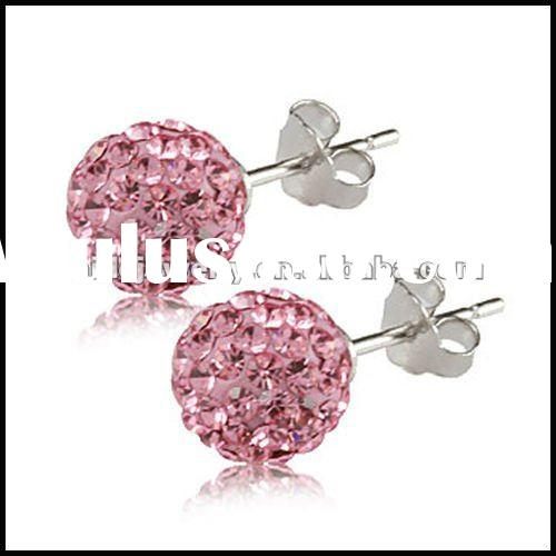 Sterling Silver 925 Pink Shamballa earring,shamballa hoop earrings,shamballa earrings