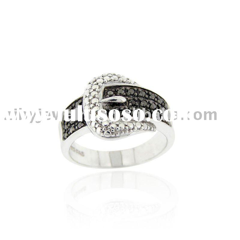 Sterling Silver Black Diamond Accent Buckle Ring