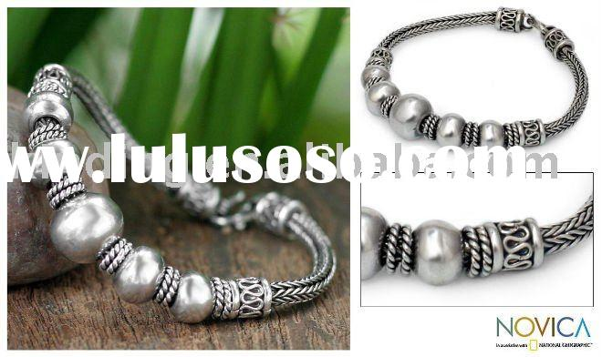 Sterling Silver 'Thai Moons' Braided Bracelet (Thailand) JBS3353