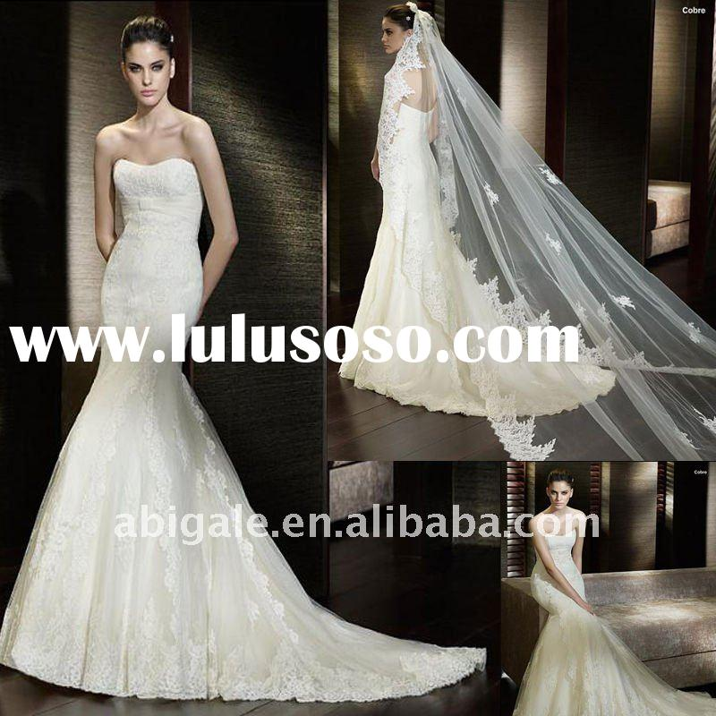 Strapless Mermaid Cathedral train Lace Beach Wedding Gown(PN10139)