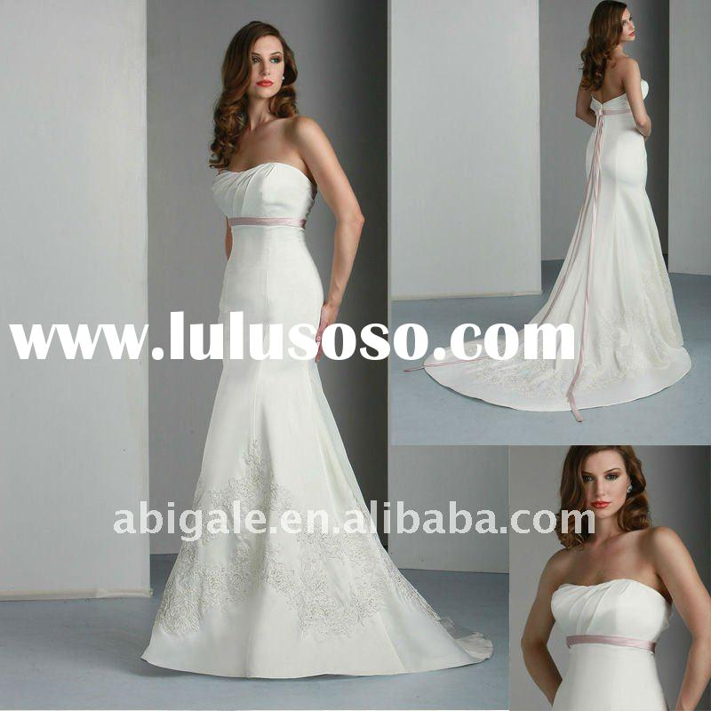 Strapless Sweetheart Mermaid Cathedral train Satin Bridal Wedding Gown(NS11061)