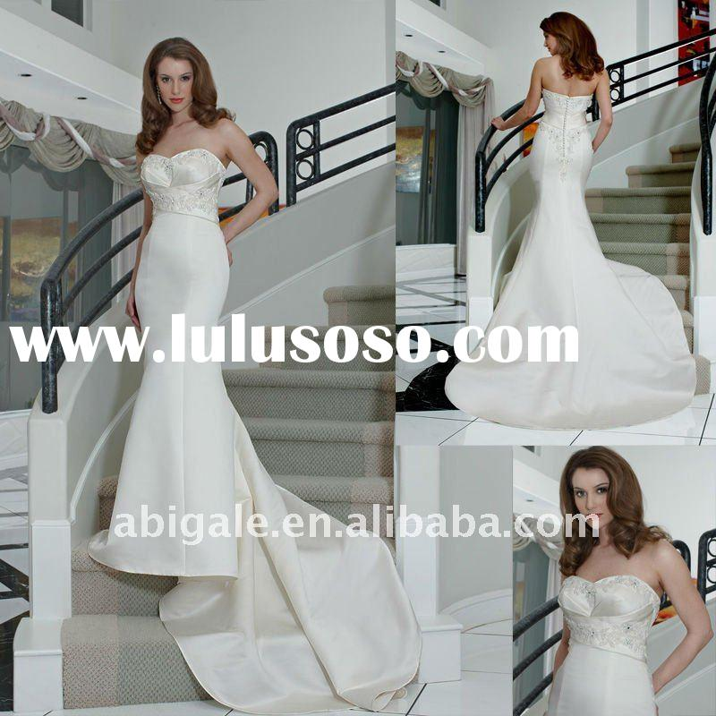 Strapless Sweetheart Mermaid Cathedral train Satin Vintage Wedding Gown(NS11083)
