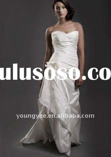Strapless ruched bodice casual beach wedding dresses(WD10128)