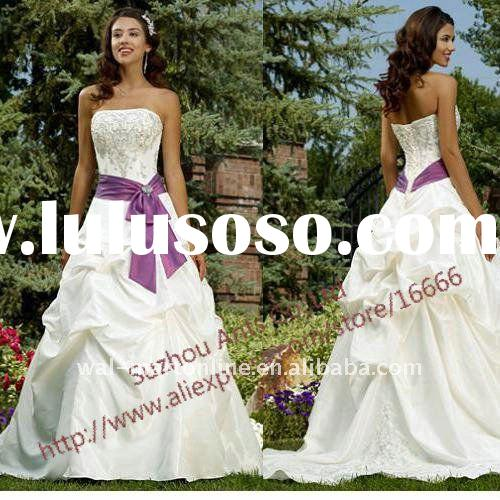 Stylish A-line Off Shoulder Embriodered Top Ivory Taffeta Purple and White Wedding Dresses with Sash
