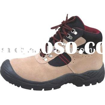 Suede leather steel toe& steel sole PU injection safety work shoes