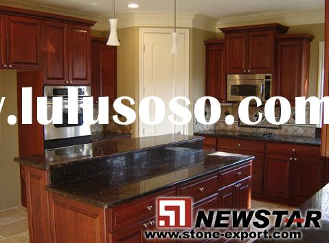 Tan red brown granite kitchen countertops with oak cabinet