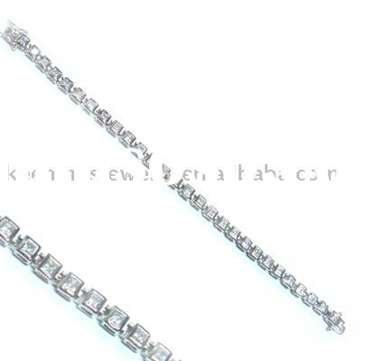 Tennis bracelet, 925 sterling silver jewelry, rhodium plated with cz stones(crystal), fashion