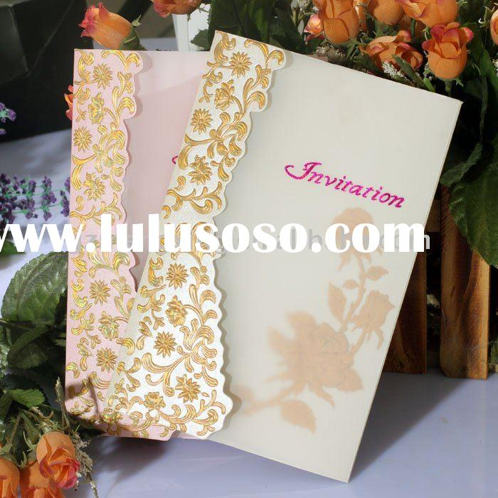 Tracing paper wedding invitation cards with embossed flower-W087