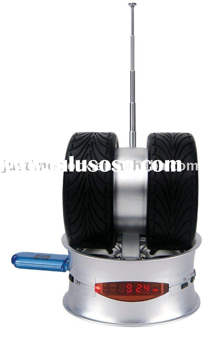 Tyre Shape Multifunctional USB speaker,MP3 player,FM radio,SD/MMC/MS card reader