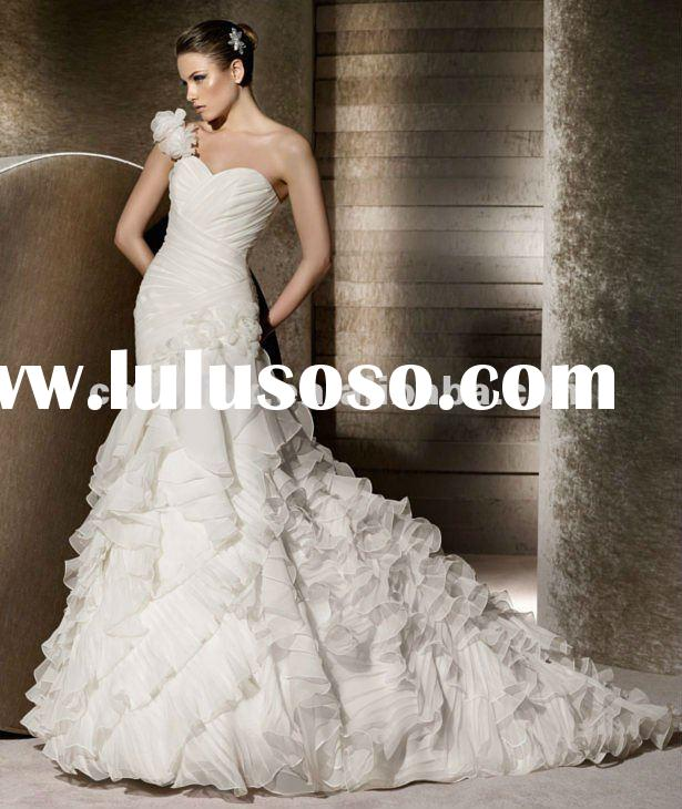 Unique Design Mermaid One-shoulder Bridal Wedding Dress